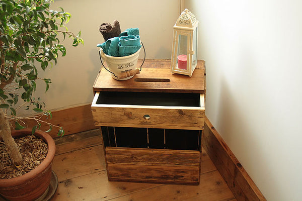 Sofa Table End Table With Magazine Rack 1 Drawer Made With Reclaimed Crate - Arte Povera - 5
