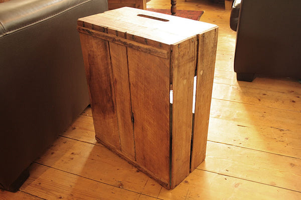 Sofa Table End Table With Magazine Rack 1 Drawer Made With Reclaimed Crate - Arte Povera - 6