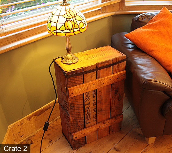 Side/End Table Bedside Table Made With Vintage Fish Crate - Arte Povera - 5