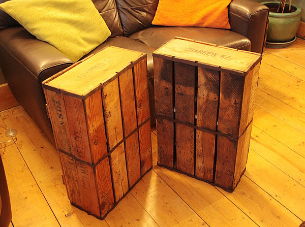 Side/End Table Bedside Table Made With Vintage Fish Crate - Arte Povera - 6