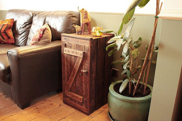 Rustic Floor Cabinet Made With Vintage Crate And Pallet Wood - Upcycled