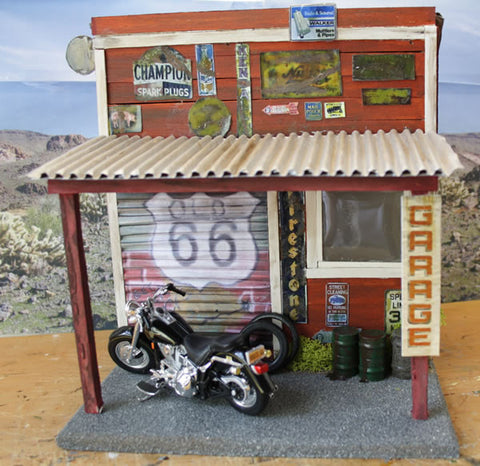 Old Garage On Route 66 Diorama - Scale 1/18