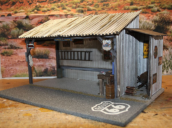 Harley Cycle Shop On Route 66 - Scale 1/18 - Arte Povera - 1