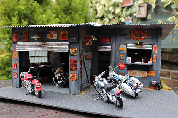 1:18 Harley Davidson Diorama - Garage And Diner On Route 66 - Handmade