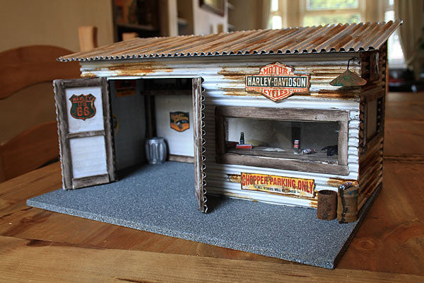 Harley Davidson Garage On Route 66 - Scale 1/18 - Arte Povera - 2