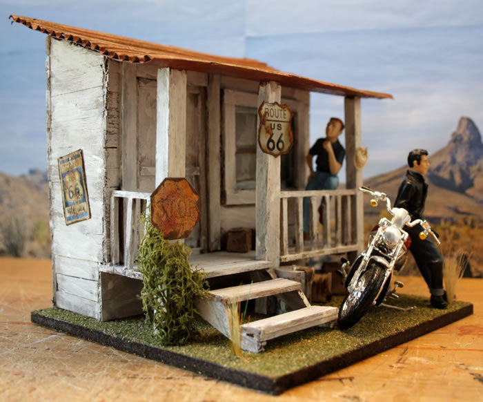Harley Stop On Route 66 - Scale 1/18 - Arte Povera - 1