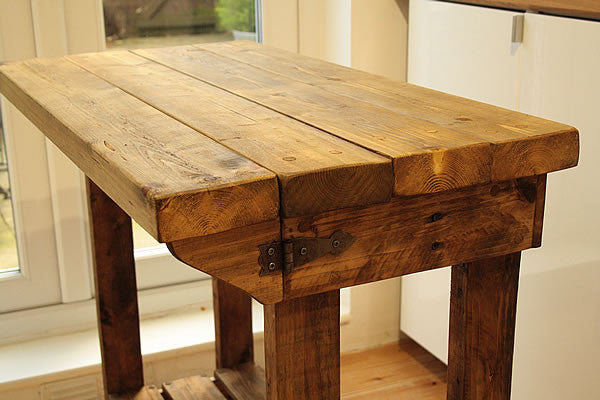 Kitchen Island Breakfast Bar Made With Reclaimed Timber And Pallet Wood - Arte Povera - 3