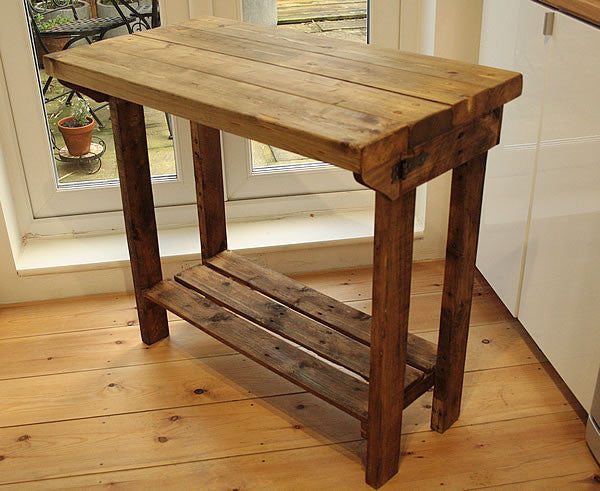 Kitchen Island Breakfast Bar Made With Reclaimed Timber And Pallet Wood - Arte Povera - 2