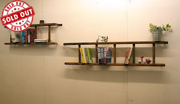 Bookshelves Made With Vintage Wooden Ladder - Arte Povera - 1
