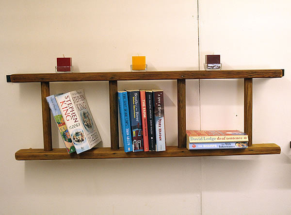 Bookshelves Made With Vintage Wooden Ladder - Arte Povera - 5