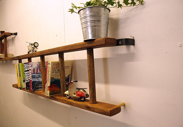 Bookshelves Made With Vintage Wooden Ladder - Arte Povera - 3