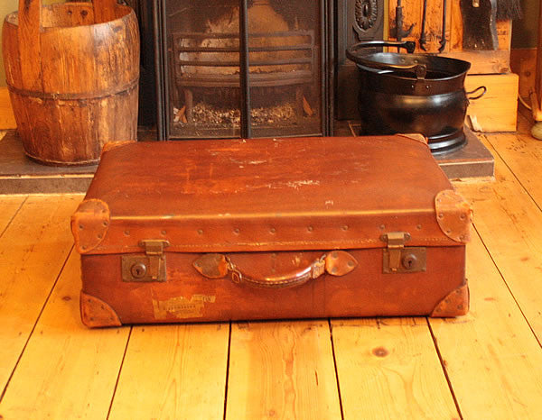 Vintage Leather Suitcase Trunk Reclaimed - Arte Povera - 2