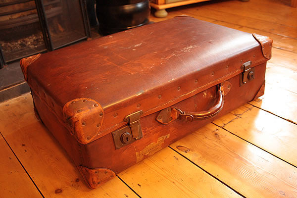 Vintage Leather Suitcase Trunk Reclaimed - Arte Povera - 5