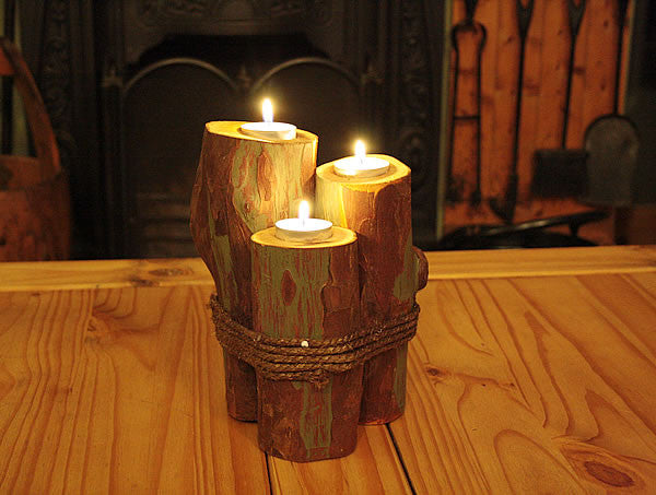 Log Candle Holders With Rope - Arte Povera - 1
