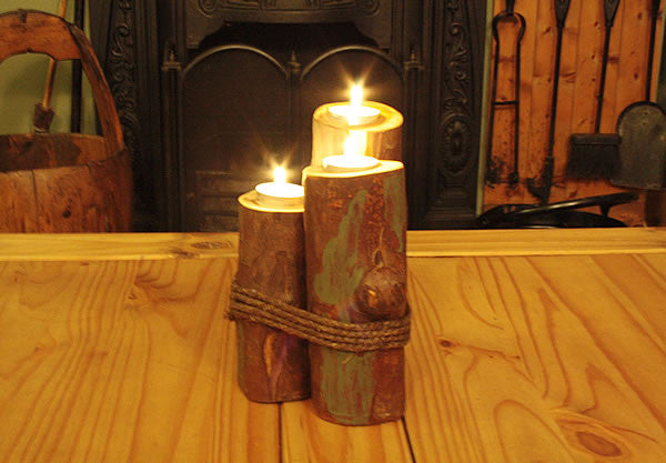 Log Candle Holders With Rope - Arte Povera - 2