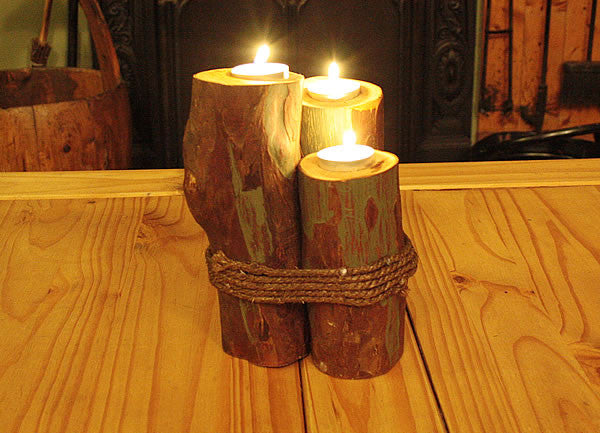 Log Candle Holders With Rope - Arte Povera - 4