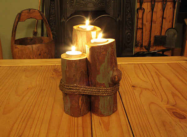 Log Candle Holders With Rope - Arte Povera - 5