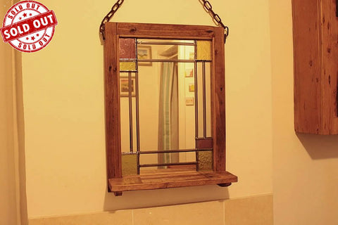 Vintage Stained Glass Mirror With Shelf On Pallet Frame