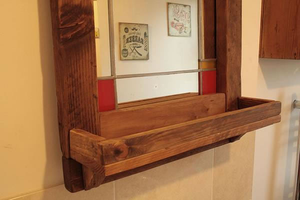 Vintage Stained Mirror With Pallet Frame And Shelf - Arte Povera - 5