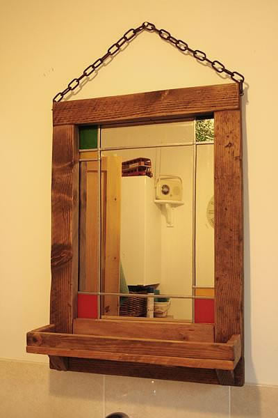 Vintage Stained Mirror With Pallet Frame And Shelf - Arte Povera - 3