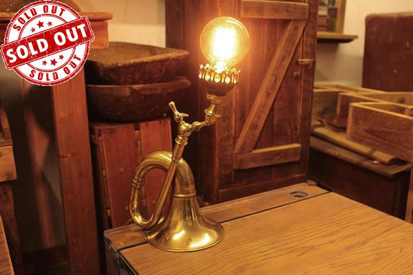 Table Desk Lamp Made With Vintage Car Horn