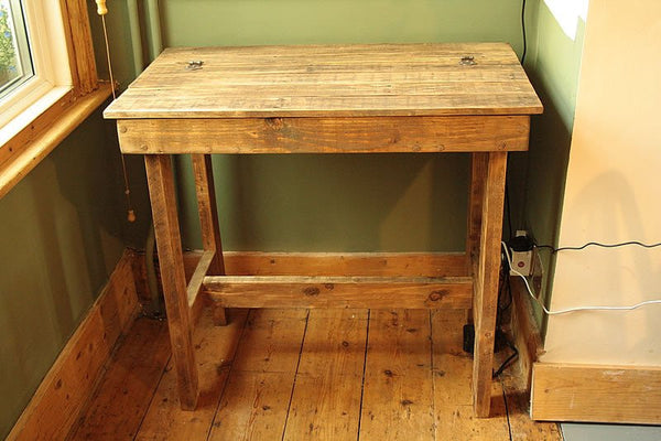 Wooden Desk With Storage Made With Pallet Wood - Arte Povera - 2