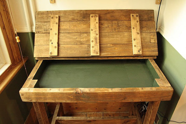 Wooden Desk With Storage Made With Pallet Wood - Arte Povera - 3