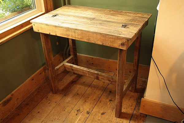 Wooden Desk With Storage Made With Pallet Wood - Arte Povera - 6