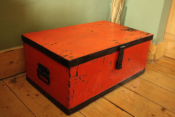 Coffee Table Wooden Trunk Vintage Restored - Arte Povera - 2