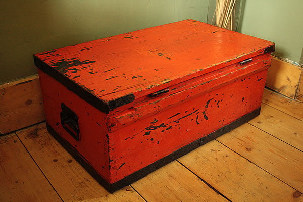 Coffee Table Wooden Trunk Vintage Restored - Arte Povera - 6