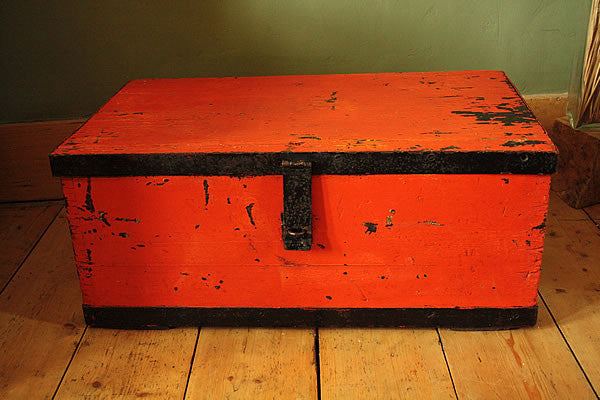 Coffee Table Wooden Trunk Vintage Restored - Arte Povera - 5