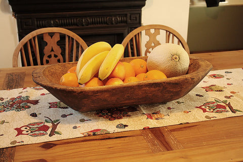 Vintage Romanian Wooden Kneading Tray Fruit Bowl Bathroom Tray - Arte Povera - 1
