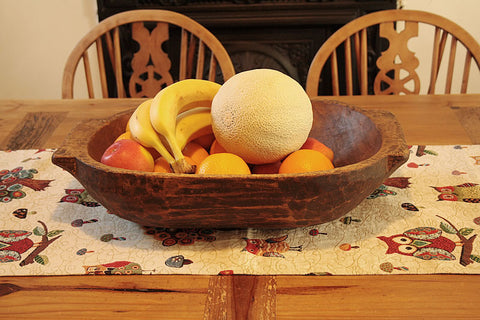 Wooden Fruit Bowl Kneading Tray Vintage Romanian - Arte Povera - 1
