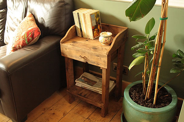 Rustic Side Table Made With Pallet Wood 1 Drawer 1 Shelf - Arte Povera - 4
