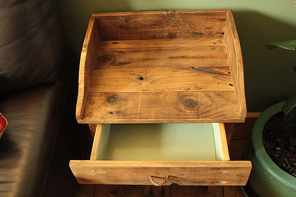 Rustic Side Table Made With Pallet Wood 1 Drawer 1 Shelf - Arte Povera - 5