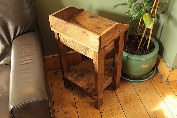 Rustic Side Table Made With Pallet Wood 1 Drawer 1 Shelf - Arte Povera - 6