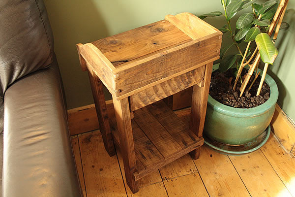 Rustic Side Table Made With Pallet Wood 1 Drawer 1 Shelf - Arte Povera - 2