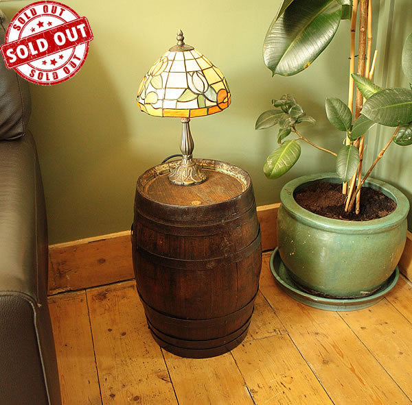 Vintage Small Wooden Barrel End Side Table - Arte Povera - 1
