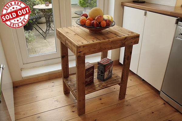 Small Table With Shelf Kitchen Bathroom Lounge Made With Pallet Wood - Arte Povera - 1