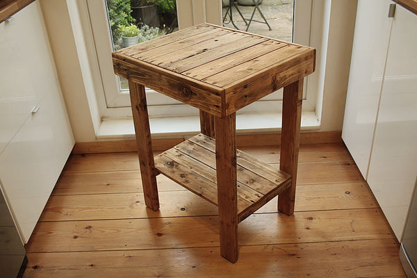 Small Table With Shelf Kitchen Bathroom Lounge Made With Pallet Wood - Arte Povera - 2