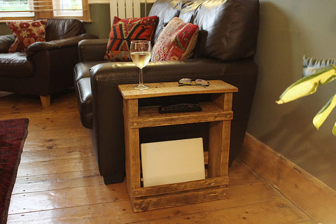 Sofa/End Table With Storage And Shelf Made With Pallet Wood