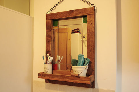 Vintage Stained Mirror With Pallet Frame And Shelf - Arte Povera - 1