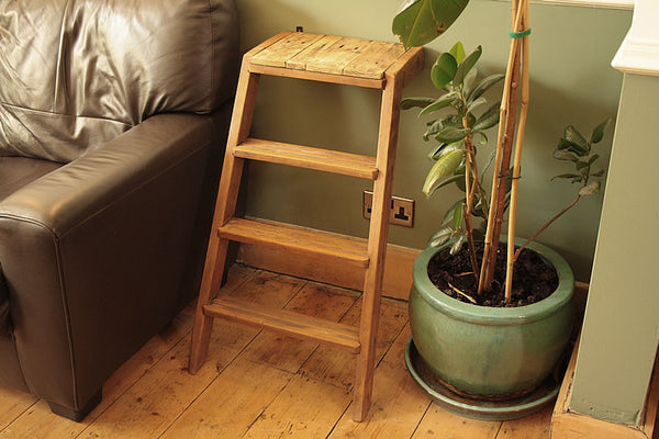 Side Table Made With Upcycled Vintage Step Ladder - Arte Povera - 3