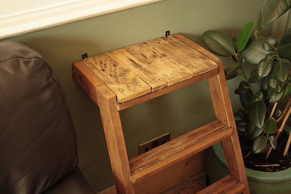Side Table Made With Upcycled Vintage Step Ladder
