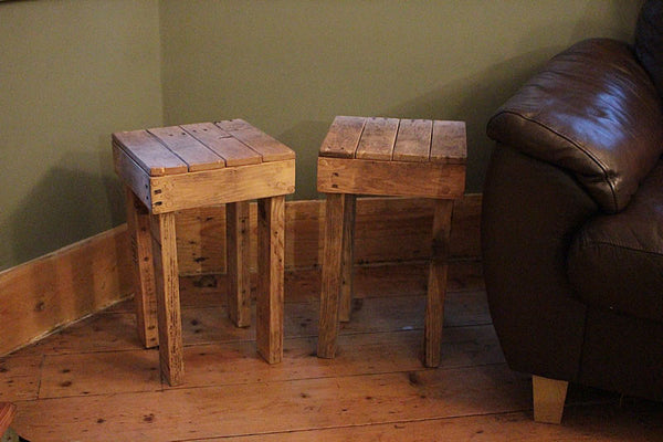 Stools Side Tables Bedside Tables Made With Pallet Wood - Arte Povera - 5