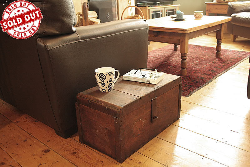 Vintage Wooden Trunk Box Side Table Restored - Arte Povera - 1