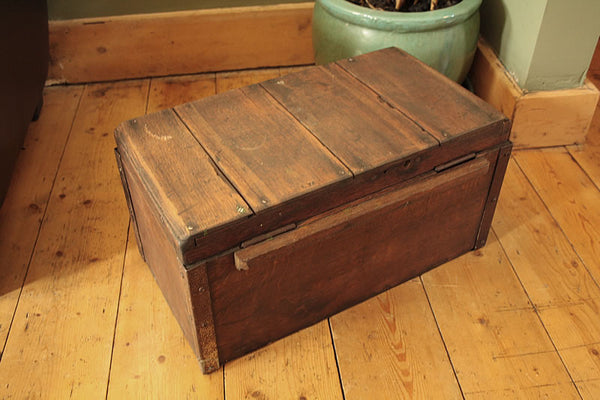 Vintage Wooden Trunk Box Side Table Restored - Arte Povera - 4