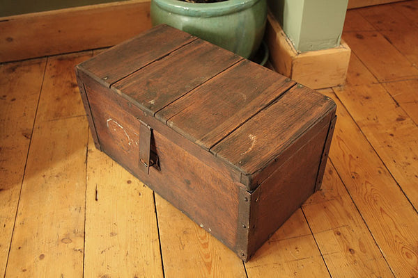 Vintage Wooden Trunk Box Side Table Restored