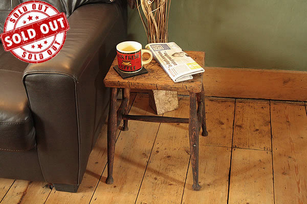 Side Table End Table From Vintage Butcher Small Table - Arte Povera - 1