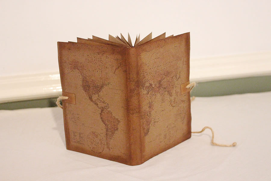 Handmade Vintage Design Journal - Vintage World Map Cover